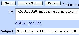 sending text message from email send text messages from your email account