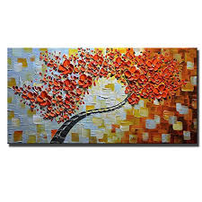 dining room wall art amazon. asdam art - 100% hand painted 3d oil paintings maple tree pictures home decor red artwork canvas wall ready to hang abstract painting living room dining amazon n