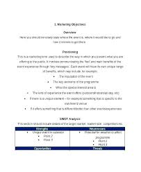 Market Planning Examples Business Plan Marketing Objectives Resume ...