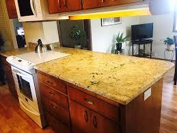 galley kitchen in golden beach granite