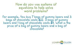 how do you use systems of equations to