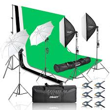 com emart 2000w photography vedio studio lighting kit softbox umbrella continuous photo lighting 8 5 x 10 feet backdrop stand support system