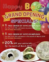 Happy Bao's menu in Mesa, Arizona, USA