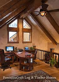 Loft home office Warehouse Custom Design Timber Frame Home Office In Loft By Precisioncraft Log Homes By Flickr Custom Design Timber Frame Home Office In Loft By Precu2026 Flickr