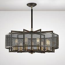 parker 9 light ceiling pendant in weathered zinc and brushed nickel finish