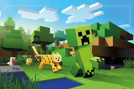 Minecraft Pictures To Print Minecraft Gaming Poster Print Ocelot Chasing Creeper Size