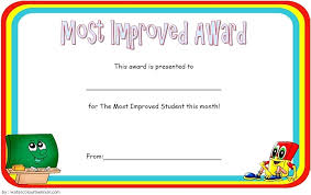 Most Improved Student Certificate Editable Template Award