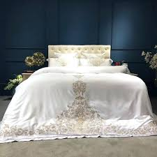silk sheet set gold silver white luxury bedding queen king size bed oriental embroidery duvet cover