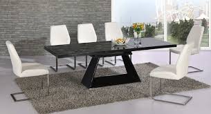 newest 6 seater glass dining table and chairs of black glass extending high gloss dining table