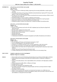 Accounting Manager Resume Finance Accounting Manager Resume Samples Velvet Jobs 1