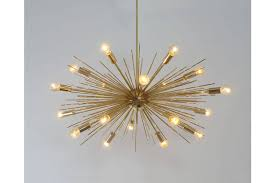 mid century modern handcrafted gold brass spurchin chandelier 18 bulb sputnik ceiling lamp light 32