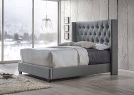 upholstered bed grey. Amazon.com: Baxton Studio Katherine Fabric Nail Head Trim Wingback Bed, Queen, Gray: Kitchen \u0026 Dining Upholstered Bed Grey N