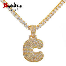 copper aaa cubic zircon custom name bubble letters pendants necklaces men s hip hop jewelry with