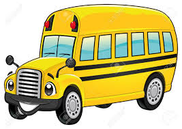Funny School Bus Cartoon And Vector Isolated Character Clip Art