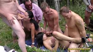 German gangbang in the outdoors with two hot chicks Shameless