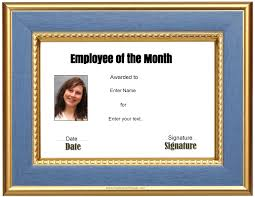 Employee Of The Month Template With Photo Free Custom Employee Of The Month Certificate