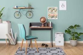 green ideas for the office. Modern And Contemporary Home Office With Green Walls Laminated Flooring Along Indoor Plants Built-in Shelf. Ideas For The P