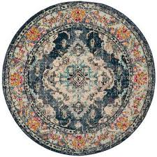 monaco navy light blue 3 ft x 3 ft round area rug