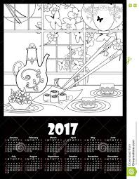 Small Picture Calendar 2017 Template With Sushi And Flowers Coloring Page Stock