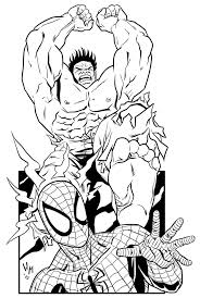 Small Picture Coloring Pages Hulk And Spiderman Hulk And Spiderman Coloring