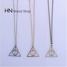 hn brand 1pcs set new beautiful harry potter necklace triangle circle pendant for women gold one size