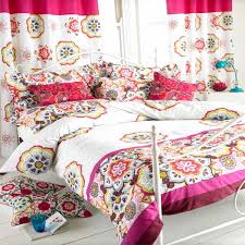 paoletti festival indian fl cotton duvet cover set white magenta double linens limited