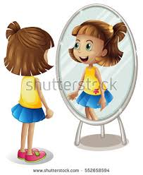 child looking in mirror clipart. girl looking at herself in the mirror child clipart r