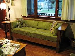 Mission style furniture like this sofa gained popularity in the