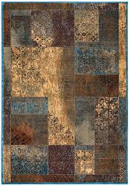home bellevue soft rectangular area rug 3 3 x 5 3 tan khaki brown blue red patch