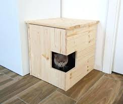 wooden litter box corner cover pet house cat cabinet furniture made of recycled spruce wood for