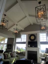 Residential Cathedral Ceiling Lighting Love The Vaulted Ceiling Chandeliers Clock Not Sure