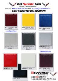 2017 Actual Corvette Color Chips Rick Conti Coughlin