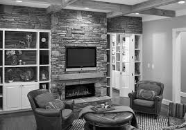 Gray Brick Fireplace Decorating Living Room With Brick Fireplace