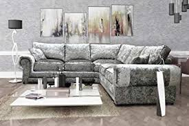 perla corner sofa 2c2 crushed velvet fabric formal back silver