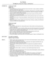 Sample Nurse Manager Resumes Nurse Manager Resume Samples Velvet Jobs