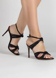knotted high heeled sandals in black leather