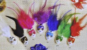 Decorative Masquerade Masks Mini Mardi Gras Feathered Glitter Clip Mask Venetian Masquerade 33