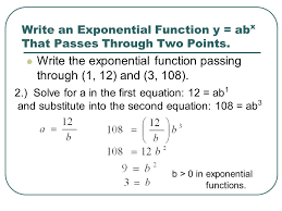 write an exponential function y abx that p through two points