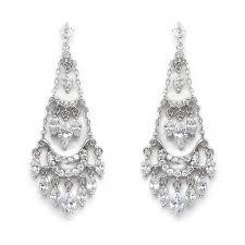 silver chandelier bridal earrings