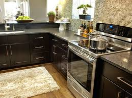 Black Granite Countertops With Tile Backsplash Magnificent Kitchen Awesome Gray Kitchen Fur Rug With Dark Brown Solid Wood
