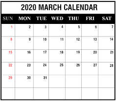 Download March 2020 Calendar Printable Printable Calendar