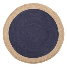 easily navy blue round rug porto hand braided jute