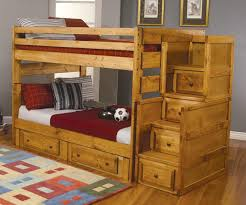 Kids Full Size Bunk Bed With Storage Made Of Nature Wood - Decofurnish