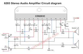 cd6283 stereo audio lifier circuit diagram