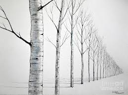 birch tree painting row of birch trees in the snow by christopher shammer