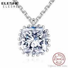 whole eleshe women fashion jewelry 925 sterling silver simulated diamonds pendant necklace white clear crystal slide necklace key pendant necklace long
