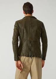 jacket in washed nappa leather emporio armani