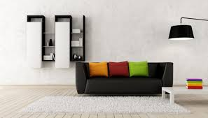 minimalist living room furniture ideas. Impressive Modern Living Room Decor With Arresting Ornament And Colorful Pillow In Black Sofa Minimalist Furniture Ideas