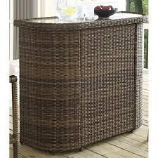crosley bradenton outdoor wicker bar in brown