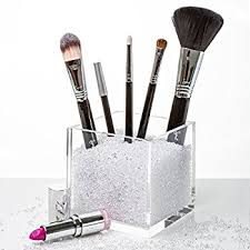 Acrylic Makeup Brush Holder & Countertop Cosmetic Organizer with Beautiful  CLEAR Crystals. #1 Makeup